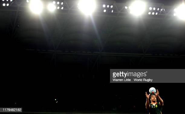 Eben Etzebeth of South Africa wins the line out during the Rugby World Cup 2019 Group B game between South Africa v Italy at Shizuoka Stadium Ecopa...