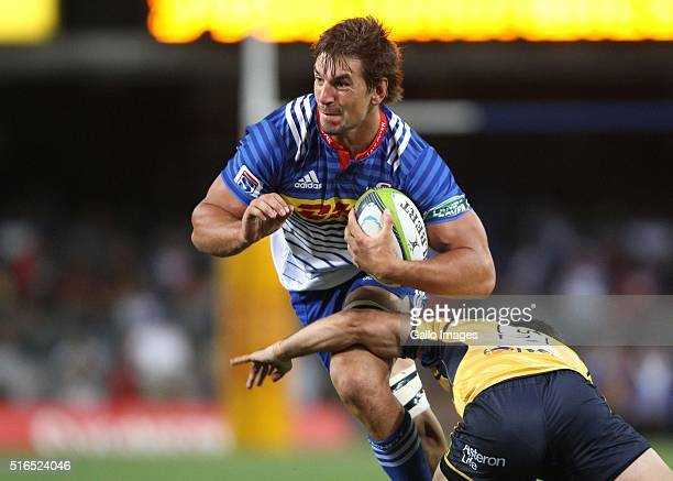 Eben Etzebeth of the DHL Stormers during the Super Rugby match between DHL Stormers and Brumbies at DHL Newlands Stadium on March 19 2016 in Cape...