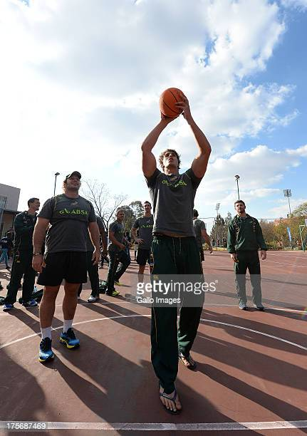 Eben Etzebeth of the Springboks shoots at the hoop during the Springbok Rugby Team Project Visit at Wanderers Club Illovo on August 06 2013 in...