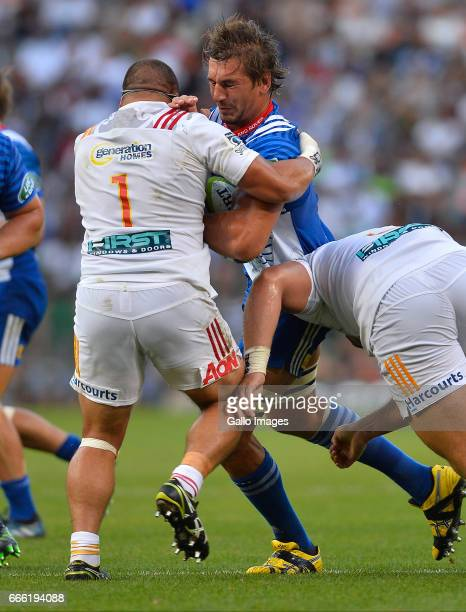 Eben Etzebeth of the Stormers and Kane Hames of the Chiefs during the Super Rugby match between DHL Stormers and Chiefs at DHL Newlands on April 08...