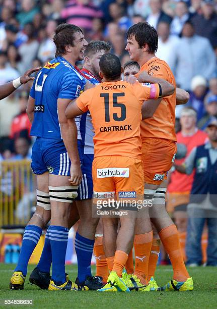 Eben Etzebeth of the Stormers and Lood de Jager of the Cheetahs clash during the Super Rugby match between DHL Stormers and Toyota Cheetahs at DHL...