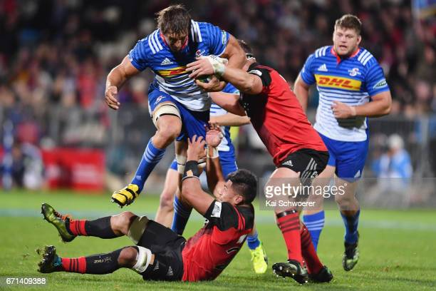Eben Etzebeth of the Stormers charges forward during the round nine Super Rugby match between the Crusaders and the Stormers at AMI Stadium on April...