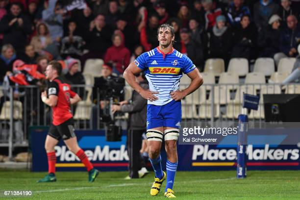 Eben Etzebeth of the Stormers looks dejected after conceding a try during the round nine Super Rugby match between the Crusaders and the Stormers at...