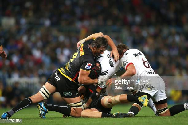 Eben Etzebeth of the Stormers struggles with Matt Todd of the Crusaders at the ruck during the Super Rugby match between DHL Stormers and Crusaders...
