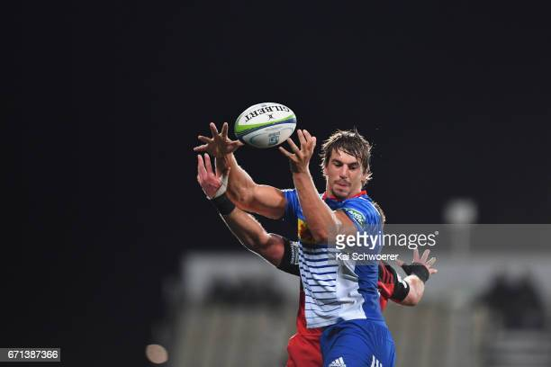 Eben Etzebeth of the Stormers wins a lineout during the round nine Super Rugby match between the Crusaders and the Stormers at AMI Stadium on April...