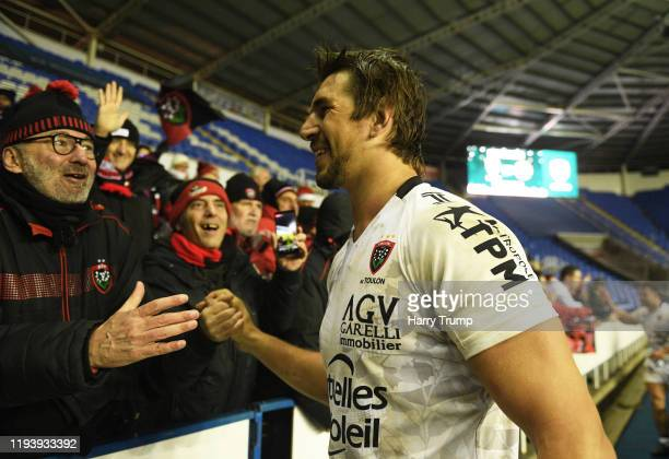 Eben Etzebeth of Toulon looks on at the final whistle as he celebrates with fans during the European Rugby Challenge Cup Round 4 match between London...