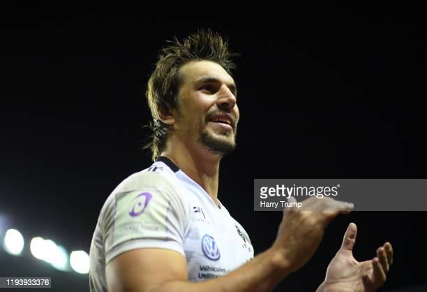 Eben Etzebeth of Toulon looks on at the final whistle during the European Rugby Challenge Cup Round 4 match between London Irish and Toulon at the...