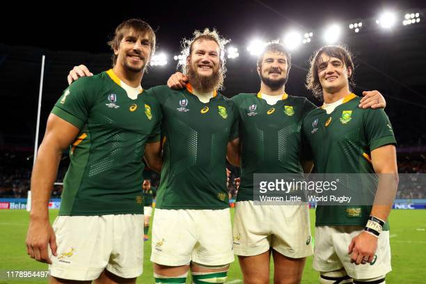Eben Etzebeth Rg Snyman Lodewyk De Jager and Franco Mostert of South Africa pose for a photo following the Rugby World Cup 2019 Group B game between...
