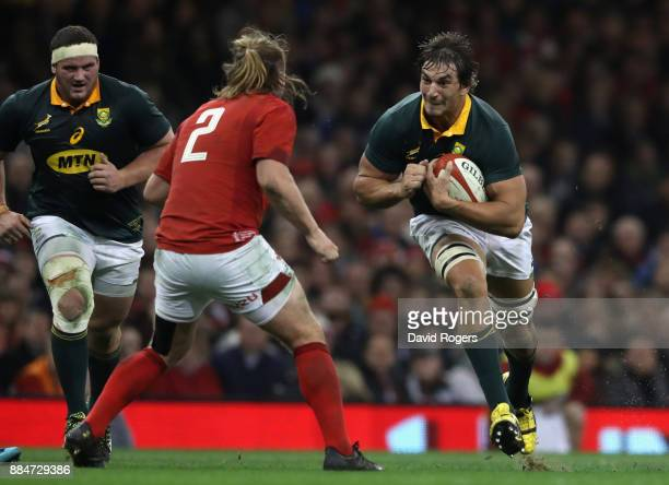 Eben Etzebeth the South Africa captain takes on Kristian Dacey during the rugby union international match between Wales and South Africa at the...