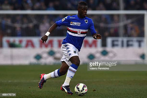 Ebenezer Afriyie Acquah of UC Sampdoria in action during the Serie A match between UC Sampdoria and Cagliari Calcio at Stadio Luigi Ferraris on March...