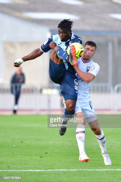 Ebenezer Assifuah of Le Havre and Frederic Guilbert of Caen during the preseason friendly match for the Trophee des Normands between Caen and Le...