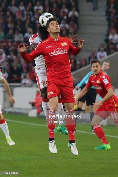 Ebenezer Ofori of Stuttgart battle for the ball during the Second Bundesliga match between VfB Stuttgart and 1 FC Union Berlin at MercedesBenz Arena...