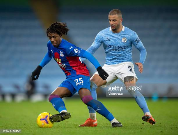 Eberechi Eze of Crystal Palace and Kyle Walker of Manchester City in action during the Premier League match between Manchester City and Crystal...