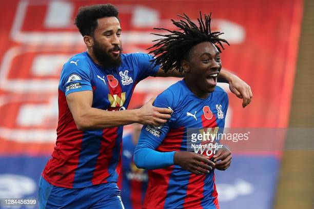 Eberechi Eze of Crystal Palace celebrates after scoring his sides second goal with Andros Townsend of Crystal Palace during the Premier League match...