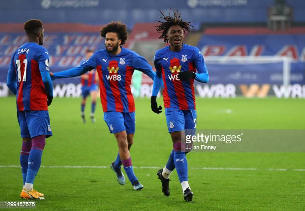 Eberechi Eze of Crystal Palace celebrates after scoring his team's first goal during the Premier League match between Crystal Palace and...