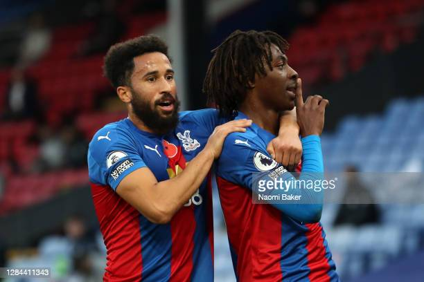 Eberechi Eze of Crystal Palace celebrates with teammate Andros Townsend after scoring his team's second goal during the Premier League match between...