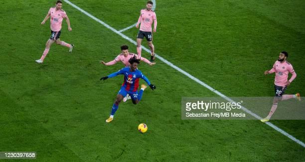 Eberechi Eze of Crystal Palace control ball around Jayden Bogle, Ethan Ampadu, Oliver Norwood and Chris Basham of Sheffield United during the Premier...