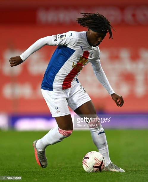 Eberechi Eze of Crystal Palace runs with the ball during the Premier League match between Manchester United and Crystal Palace at Old Trafford on...