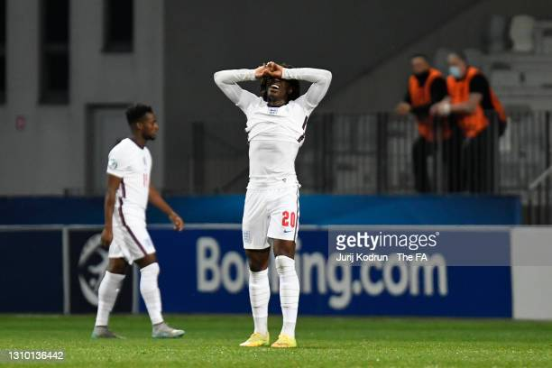 Eberechi Eze of England looks dejected after conceding their side's first goal scored by Domagoj Bradaric of Croatia during the 2021 UEFA European...