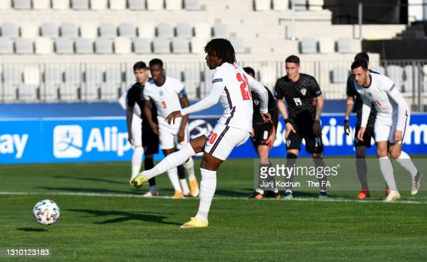 Eberechi Eze of England scores their side's first goal from the penalty spot during the 2021 UEFA European Under-21 Championship Group D match...