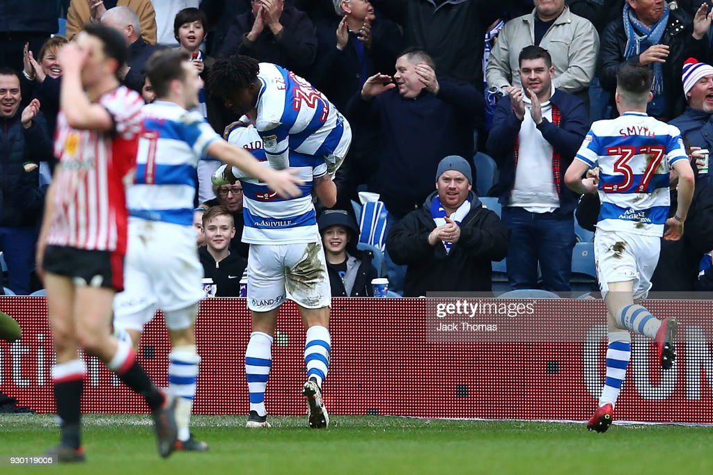 Eberechi Eze of QPR celebrates scoring his teams first goal with team mates during the Sky Bet Championship match between QPR and Sunderland at Loftus Road on March 10, 2018 in London, England.
