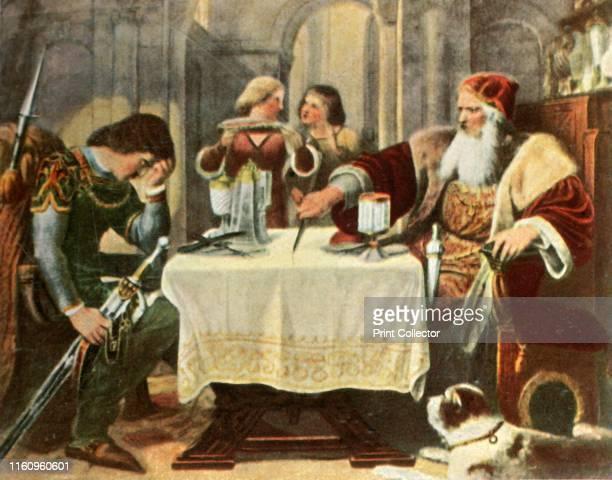Eberhard cuts in half the tablecloth between himself and his son Ulrich . 'Eberhard Der Greiner Zerschneidet Zwischen Sich Und Seinem Sohn Ulrich Das...