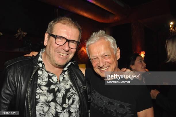 Eberhard Forcher and Boris Bukowski presents his new album 'Gibt's ein Leben vor dem Tod' at Cafe Jenseits on October 19 2017 in Vienna Austria