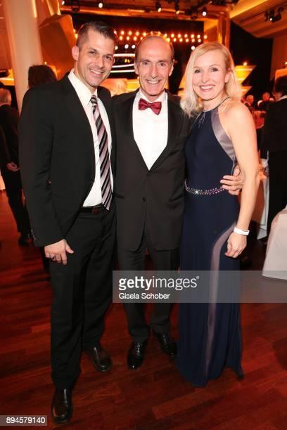 Eberhard Gienger and his son Markus Gienger and daughter-in-law Karina Gienger during the 'Sportler des Jahres 2017' Gala at Kurhaus Baden-Baden on...