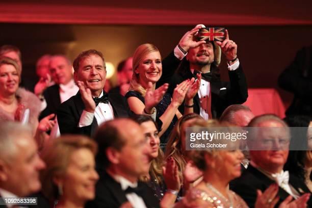 Eberhard Hertel Stefanie Hertel and her husband Lanny Lanner congrats their daughter Johanna Mross during the 14th Semper Opera Ball 2019 at...