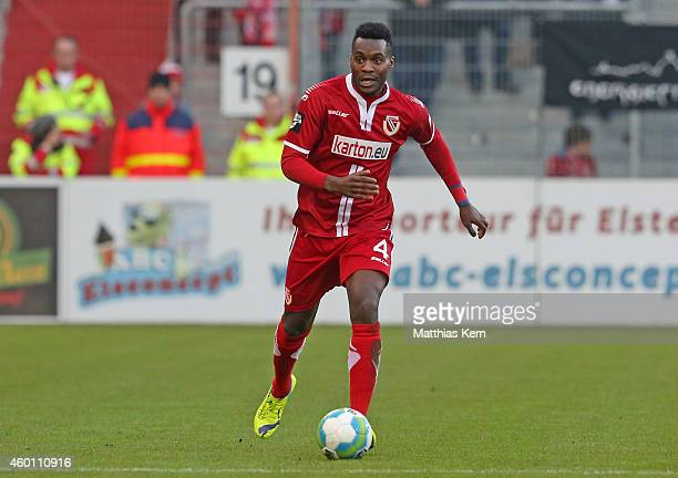 Ebewa Yam Mimbala of Cottbus runs with the ball during the third league match between FC Energie Cottbus and VFL Osnabrueck at Stadion der...