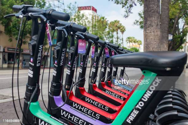 Ebikes forming a part of a bike sharing scheme are parked on a street in the Hollywood area of Los Angeles some major cities in the US are looking at...