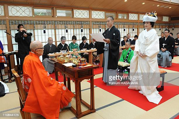 Ebizo Ichikawa And Mao Kobayashi Wedding In Tokyo Japan On July 29 2010 Kabuki actor Ebizo Ichikawa and Mao Kobayashi held their Buddhiststyle...