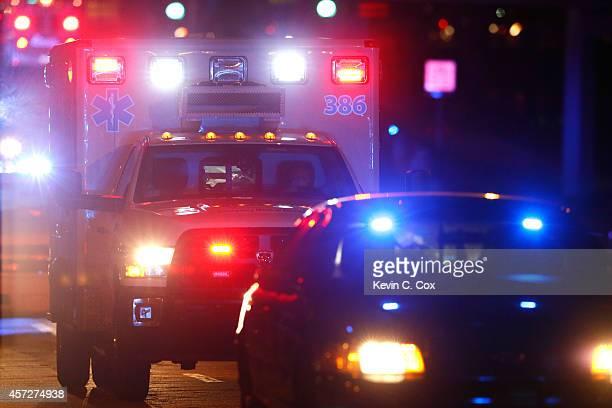 Ebola patient Amber Vinson arrives by ambulance at Emory University Hospital on October 15, 2014 in Atlanta, Georgia. Nurse Amber Vinson joins Nina...