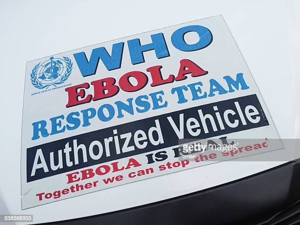 who ebola response team vehicle sticker - world health organization stock pictures, royalty-free photos & images