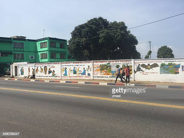 ebola warning wall painting - monrovia liberia stock photos and pictures