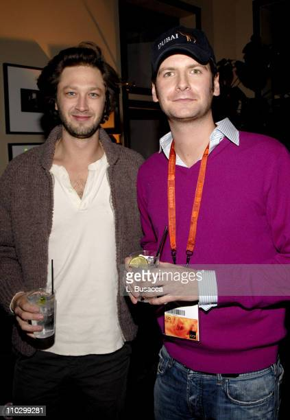 """Ebon Moss-Bachrach and guest during 2007 Park City - Hollywood Life House - """"Year of the Dog"""" Cocktail Party at Hollywood House Lodge in Park City,..."""