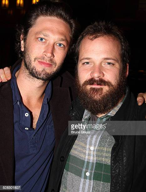 Ebon Moss-Bachrach and Peter Sarsgaard pose at The Opening Night After Party for The Seagull at Sardi's on October 2, 2008 in New York City, New York.