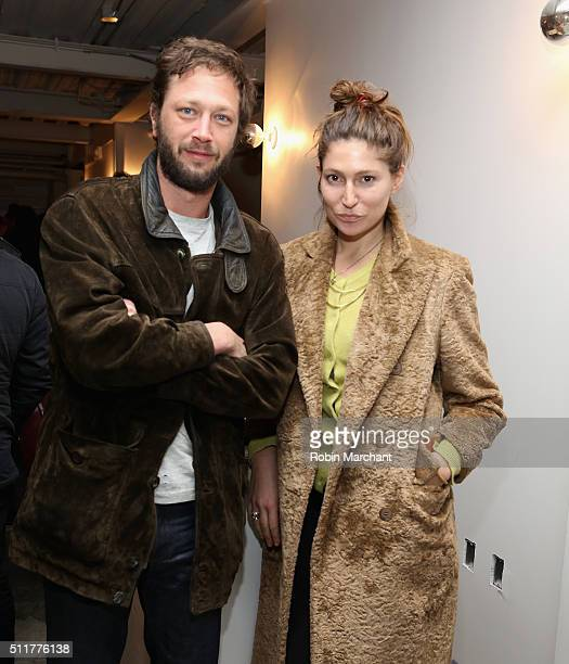 """Ebon Moss-Bachrach and Stella Schnabel attend """"Knight of Cups"""" New York Screening After Party at Metrograph on February 22, 2016 in New York City."""