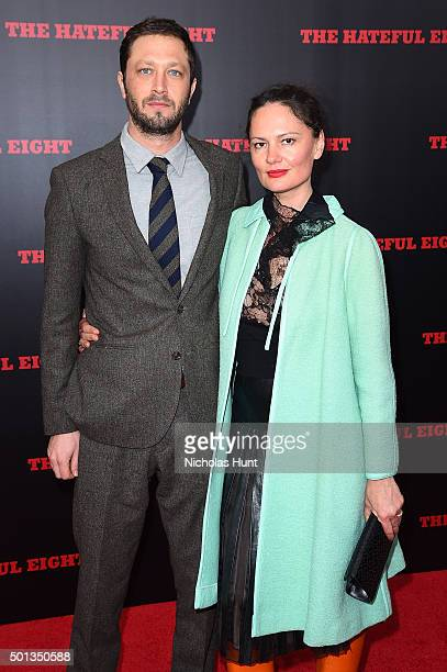 """Ebon Moss-Bachrach and Yelena Yemchuk attend the New York premiere of """"The Hateful Eight"""" on December 14, 2015 in New York City."""