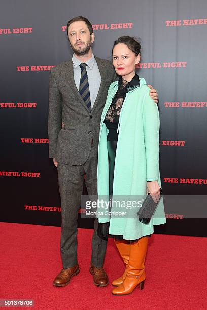 Ebon MossBachrach and Yelena Yemchuk attend the The New York Premiere Of 'The Hateful Eight' on December 14 2015 in New York City