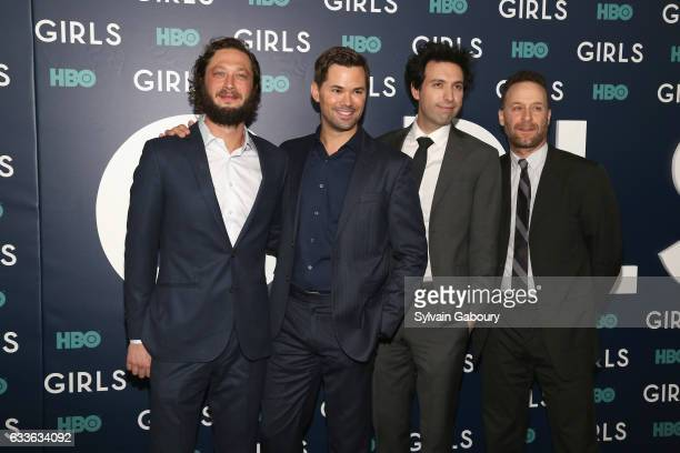 """Ebon Moss-Bachrach, Andrew Rannells, Alex Karpovsky and Jon Glaser attend The New York Premiere of the Sixth & Final Season of """"Girls"""" at Alice Tully..."""