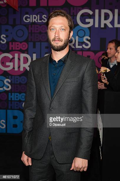 """Ebon Moss-Bachrach attends the """"Girls"""" Season Four Premiere at the American Museum of Natural History on January 5, 2015 in New York City."""