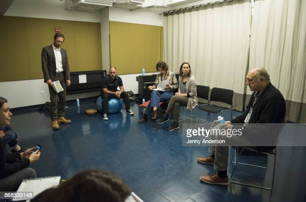 Ebon Moss-Bachrach, Orlando Pabotoy, Lola Kirke, Miriam Shor and John Doman in rehearsal for 24 Hour Plays on Broadway at American Airlines Theatre...