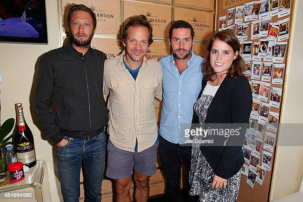Ebon Moss-Bachrach, Peter Sarsgaard, Phil Winser and Princess Eugenie of York attend the Moet & Chandon Suite at the 2014 US Open Men's Final at USTA...
