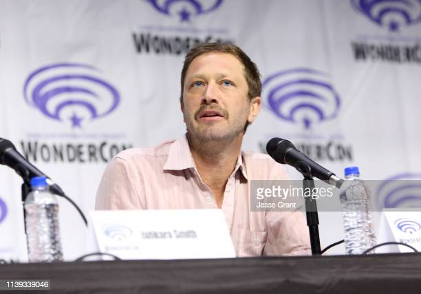 """Ebon Moss-Bachrach speaks onstage during the Wondercon """"Nos4a2"""" screening and panel at Anaheim Convention Center on March 30, 2019 in Anaheim,..."""