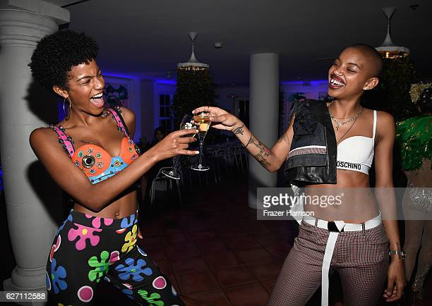 Ebonee Davis and Slick Woods attend L'Eden By PerrierJouet Cocktail Party In Partnership With Jalouse at Casa Faena on December 1 2016 in Miami Beach...