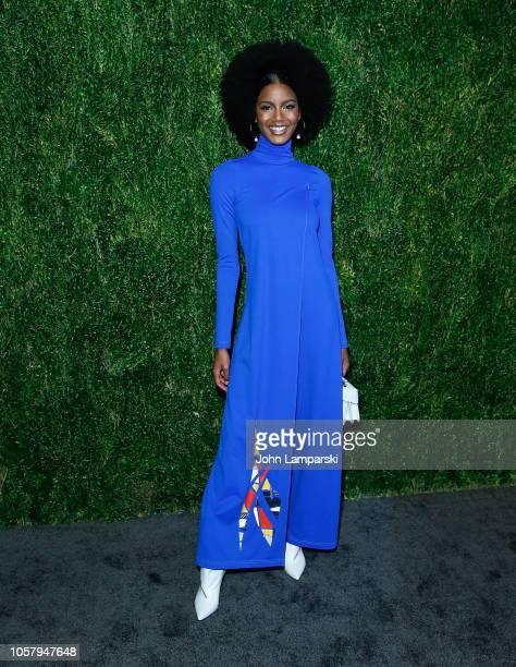 Ebonee Davis attends FDA / Vogue Fashion Fund 15th Anniversary event at Brooklyn Navy Yard on November 5 2018 in Brooklyn New York