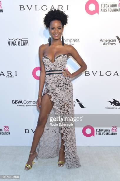 Ebonee Davis attends the 26th annual Elton John AIDS Foundation's Academy Awards Viewing Party at The City of West Hollywood Park on March 4 2018 in...