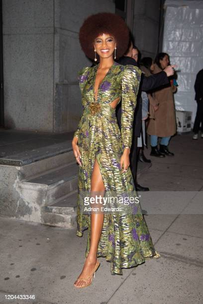 Ebonee Davis outside the amFAR Gala held at Cipriani Wall St on February 5, 2020 in New York City.