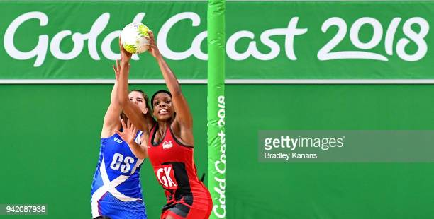 Eboni Beckford-Chambers of England and Joanne Pettitt of Scotland compete during the Netball match between England and Scotland on day one of the...